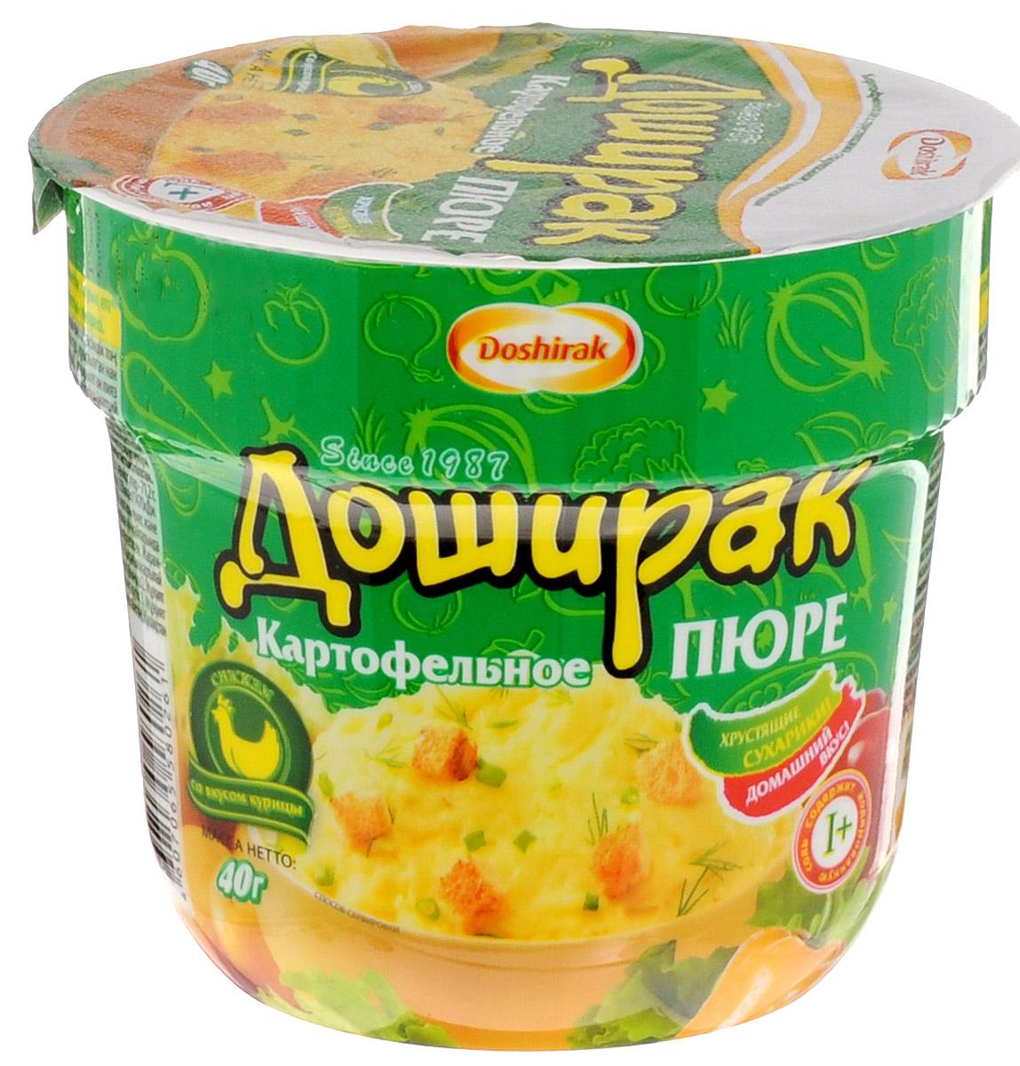 Doshirak Картофельное пюре быстрого приготовления со вкусом курицы, в стакане, 40 г