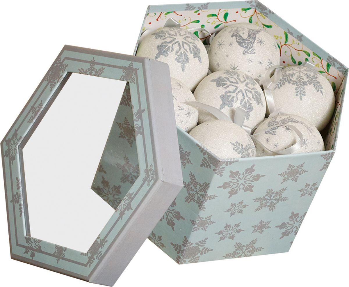 Набор елочных шаров из глянцевых и матовых в подарочной коробке для украшения дома на Рождество и Новый Год.