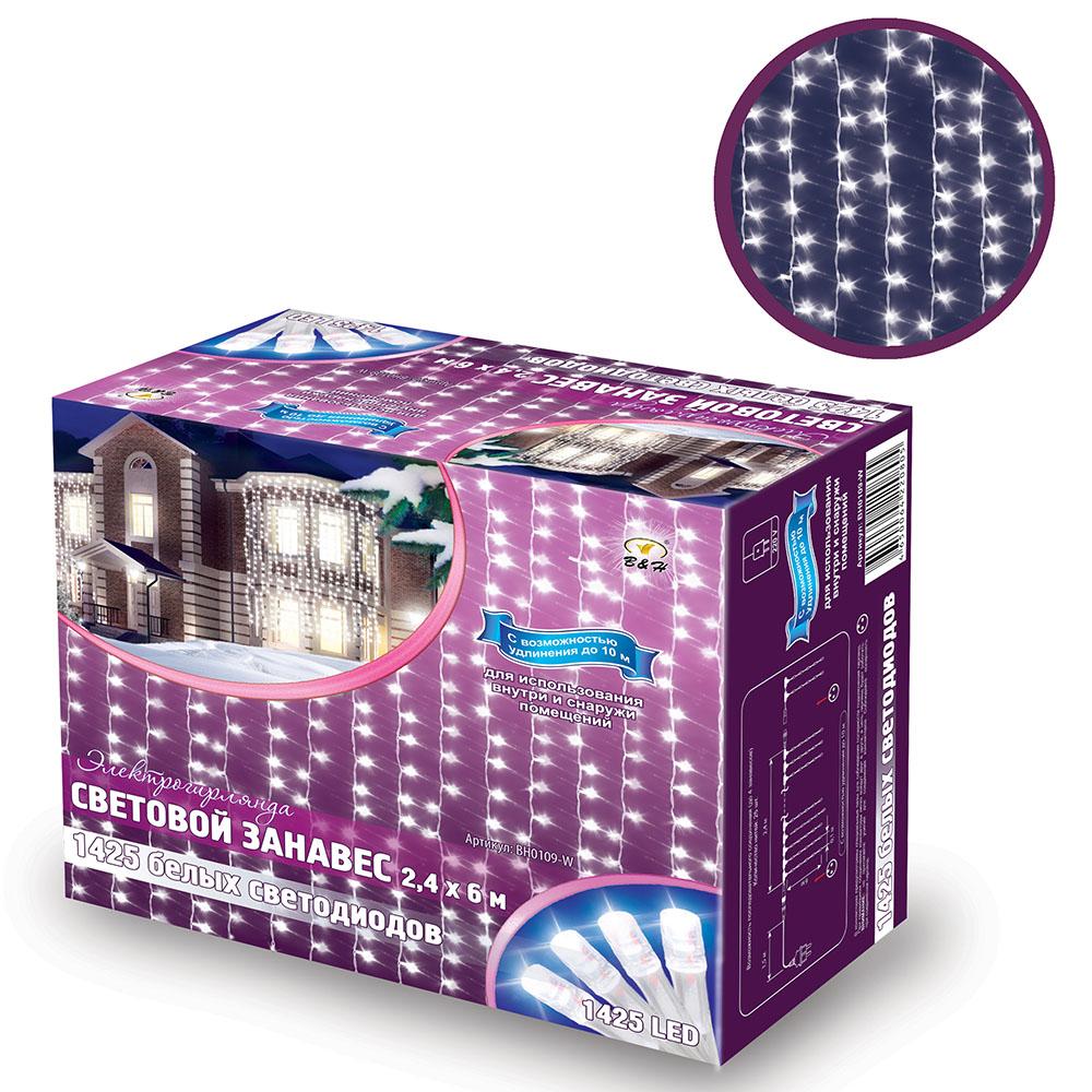 B&H Электрогирлянда Световой занавес 2,4х6 м, 1425 белых светодиодов, для исп. внутри и снаружи помBH0109-WСветовой занавес (1425 LED) идеально подходит для оформления: окон, витрин, стен, потолочных проемов. Эти электрогирлянды состоят из 24 декоративных нитей со светодиодами. Нити расположены на расстоянии 10 см. друг от друга, длина нитей 6 м. Имеют возможность последовательного подключения до 4 штук. Для использования внутри и снаружи помещений. Цвет: белый.