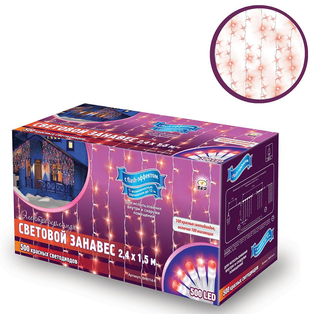 Электрогирлянда B&H Световой занавес, 600 красных светодиодов, 2,4 х 1,5 мBH0114-RЭлектрогирлянда B&H Световой занавес предназначена для декора окон, витрин, стен и потолочных проемов. Изделие представляет собой провода, на которых расположено 500 красных светодиодов с постоянным свечением и 100 мигающих красных (с эффектом flash). Гирлянды B&H Световой занавес можно соединить между собой (до 5 гирлянд).Длина гирлянды: 2,4 м.Длина нитей: 1,5 м.Максимальная длина присоединения гирлянд: 12 м.Количество диодов: 500 красных с постоянным свечением, 100 мигающих красных (с эффектом flash).
