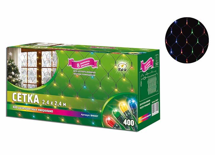 Электрогирлянда B&H Сетка, 400 разноцветных микролампочек, 8 режимов, 2,4 х 2,4 мBH0307Электрогирлянда B&H Сетка предназначена для декора окон, витрин, стен и потолочных проемов. Гирлянда представляет собой гибкий провод в форме сетки с разноцветными микролампочками. Не является соединяемой. Для использования внутри помещений.Размер гирлянды: 2,4 х 2,4 м.Количество микролампочек: 400 разноцветных.