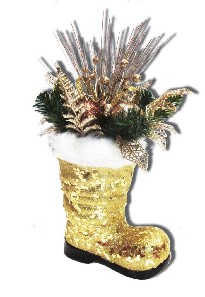 Новогодняя композиция B&H Сапог с еловой веткой, цвет: золотой, 22 х 42 смBH1021-GИзделие используется для декорирования интерьера. Размеры композиции: 22 х 42 см.