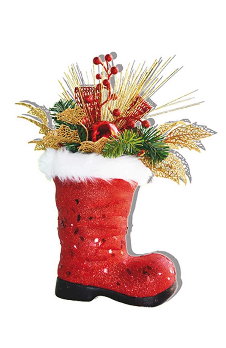 Новогодняя композиция B&H Сапог с еловой веткой, цвет: красный, 22 х 42 смBH1021-RИзделие используется для декорирования интерьера. Размеры композиции: 22 х 42 см.