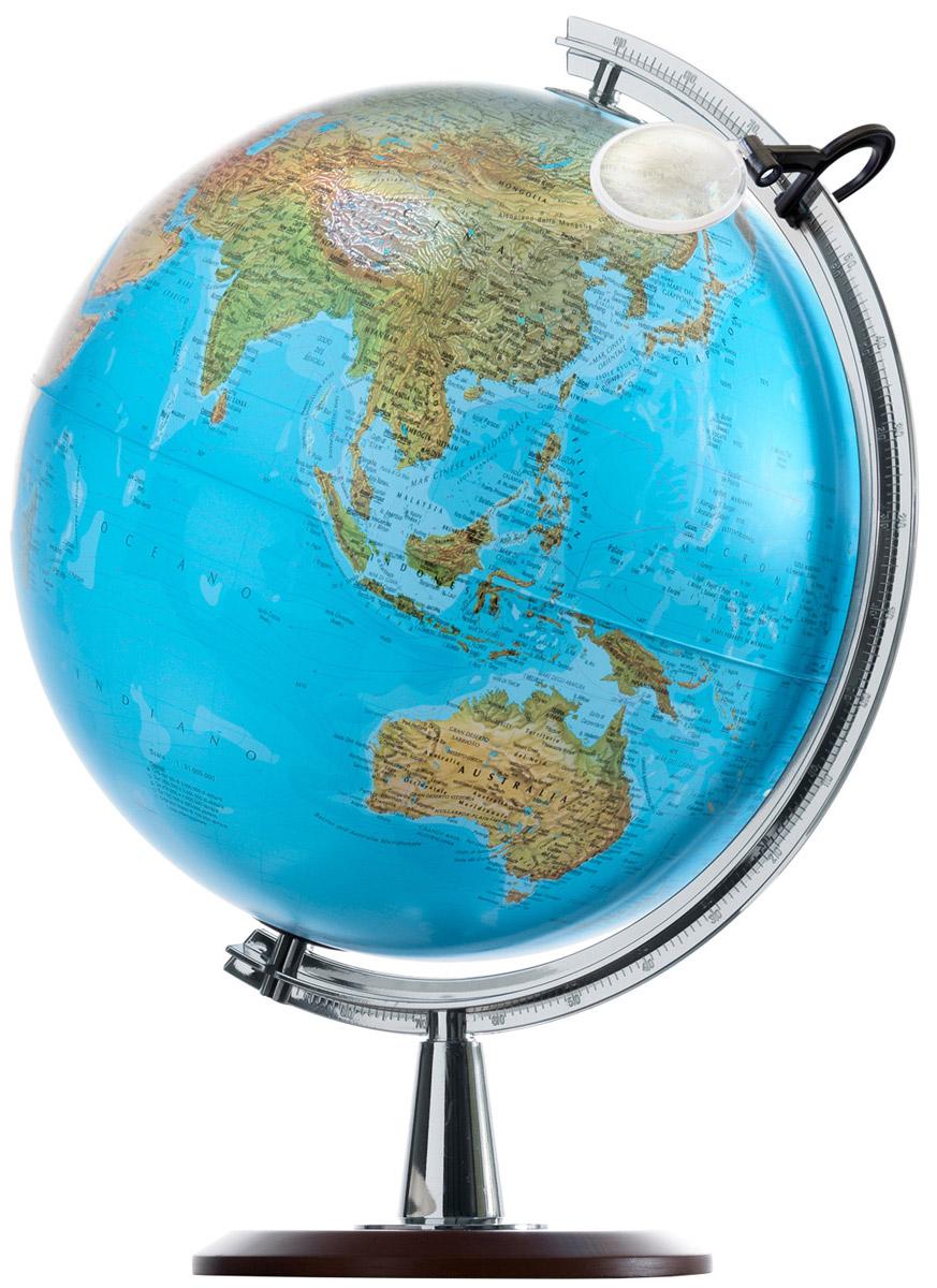 Глобус Atlantis, с физической и политической картой мира, с подсветкой, диаметр 40 см0340ATLГлобус Atlantis с физической и политической картами мира выполнен в высоком качестве, с четким и ярким изображением. Он дает представление о строении поверхности Земли и о политическом устройстве мира. На нем отображены линии картографической сетки, рельеф суши и морского дна, теплые и холодные течения,показаны границы государств и демаркационные линии, столицы и крупные населенные пункты, линия перемены дат. Легко вращается вокруг своей оси, снабжен стилизованным под металлмеридианом с лупой. Подставка изготовлена из дерева.Глобус имеет функцию подсветки от электрической сети, при включении которой становится видна политическая карта мира. Характеристики:Диаметр глобуса: 40 см. Общая высота:57 см. Диаметр подставки:22 см. Размер упаковки:61 см х 45 см х 44 см.