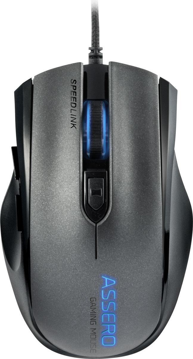Speedlink Assero, Black мышь игроваяSL-680007-BKБлагодаря впечатляющему разрешению 3200 dpi и быстрой инсталляции без драйверов Speedlink Assero является надежным партнером в деле повышения уровня. Пятикнопочная мышь с симметричным дизайном отлично лежит в руке и в равной степени подходит для правшей и левшей. Даже в ходе жестких баталий подсветка колесика и логотипа просто приковывают взгляд к Speedlink Assero. Мягко пульсирующая подсветка автоматически меняет следующие цвета: Midnight Blue, Passionate Pink, Volcano Red и Tyrian Purple. А подсветка колесика мыши также указывает на режим dpi. Гениальный бонус: между партиями мультимедийный режим делает возможным быстрый и удобный доступ к функциям управления, например, ПО по проигрыванию музыки.