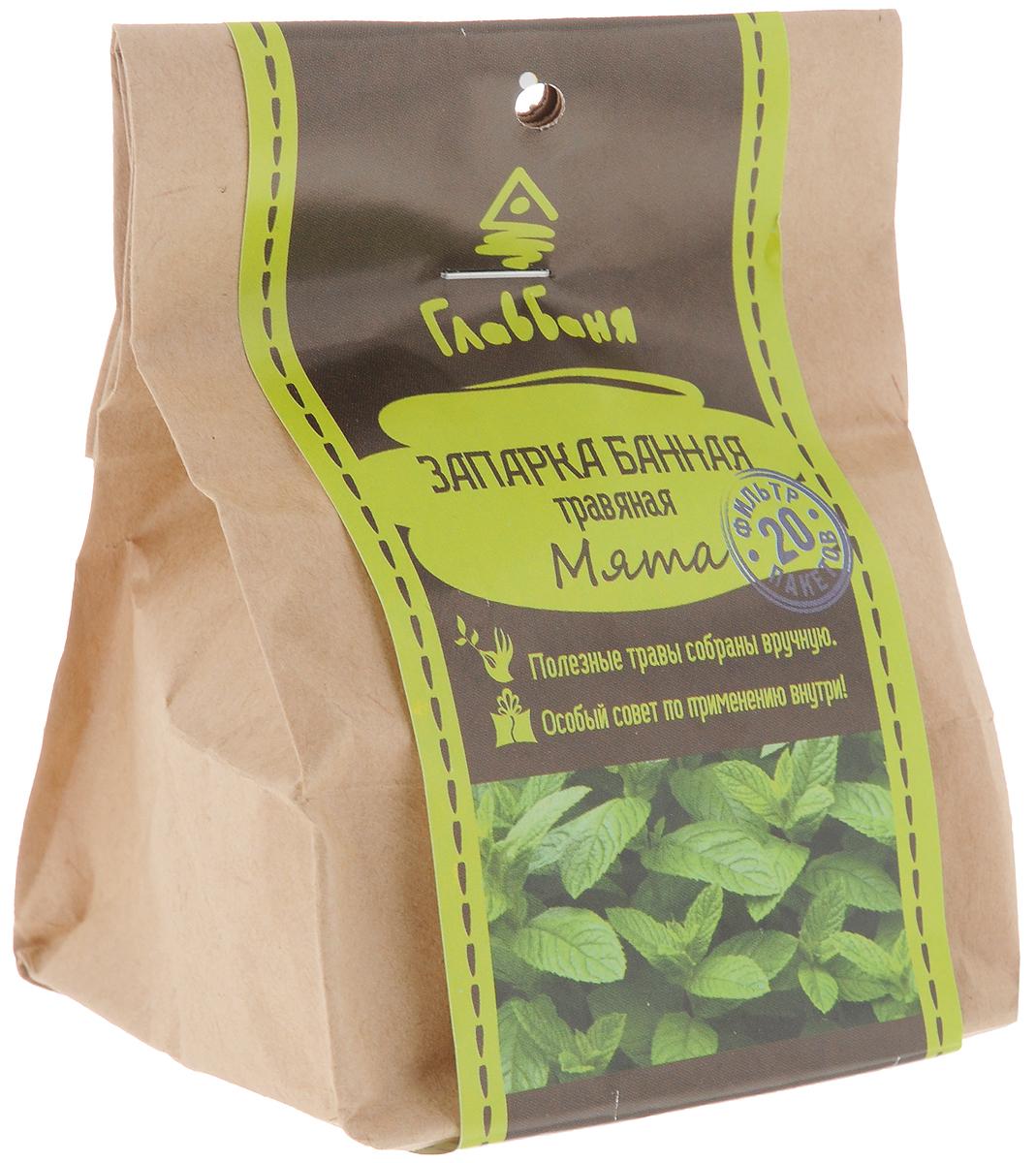 Запарка для бани и сауны Главбаня Мята, 20 фильтр-пакетиков камни для бани harvia