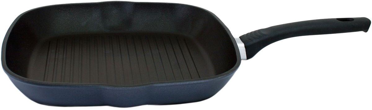 Сковорода-гриль Casta Positive, с антипригарным покрытием, 26 х 26 смП2626-ГРКСковорода-гриль Casta Positive предназначена для здорового и экологичного приготовления пищи. Корпус изделия изготовлен из литого алюминия с двухслойным внутренним антипригарным покрытием Greblon NewTec. Покрытие упрочненное, имеет отличные антипригарные свойства, не содержит вредных веществ в том числе PFOA, свинца, кадмия. Пища не пригорает и не прилипает к стенкам. Рифленая внутренняя поверхность образует аппетитную корочку. Такая сковорода замечательно подойдет для приготовления жаренных и тушеных блюд, а также прекрасно подходит для приготовления как стейков, так и овощей.Внешнее декоративное покрытие Greblon Decor имеет высокую устойчивость к термическому воздействию.Термостойкая рукоятка специального дизайна, выполненная из бакелита, удобна икомфортна в эксплуатации.Не используйте металлические лопатки или ложки, это может повредить покрытию.Подходит для газовых, электрических и стеклокерамических плит. Можно мыть в посудомоечной машине.