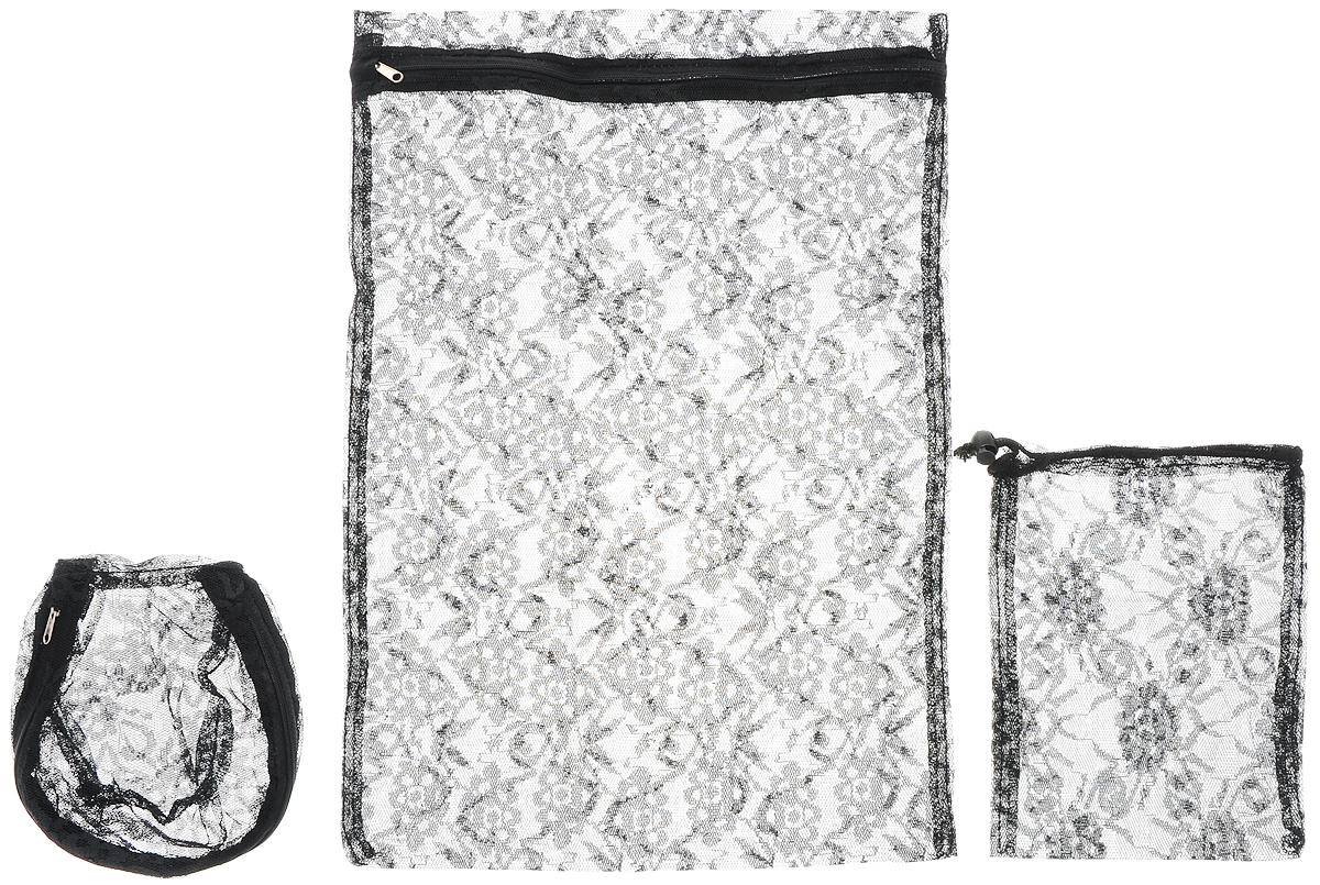 Набор мешков для стирки Eva Ажур, цвет: черный, 3 штЕ284_черныйС мешками Eva Ажур вы можете быть уверены в том, что во время стирки ваши темные вещи не потеряют вид. В комплект входят три мешка разных размеров, защищающих деликатные и мелкие изделия во время стирки. Удобно застегиваются застежкой-молнией, на которой предусмотрена специальная накладка на язычок, предотвращающая повреждение стиральной машины и другого белья. Маленькая вещь для большого удобства!Особенности: Защищают деликатные и мелкие изделия во время стирки, полоскания и отжима; Предотвращают повреждение стиральной машины и другого белья колечками для штор, застежками бюстгальтеров; Удобная застежка-молния со специальной накладкой на язычок. В набор входят: мешок 34 х 50 см; 15 х 18 см; 24 х 20 см.