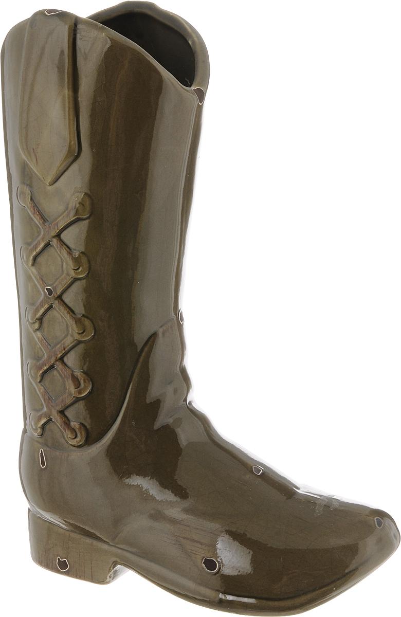 Ваза House & Holder, цвет: коричнево-зеленый, высота 30 смDP-B65-11D100L-1NЭкстравагантная ваза House & Holder, изготовленная из керамики, выполнена в виде сапога. Такое оформление делает ее изящным украшением интерьера.Ваза House & Holder дополнит интерьер офиса или дома и станет желанным и стильным подарком.Размер вазы: 21 х 9,5 х 30 см.
