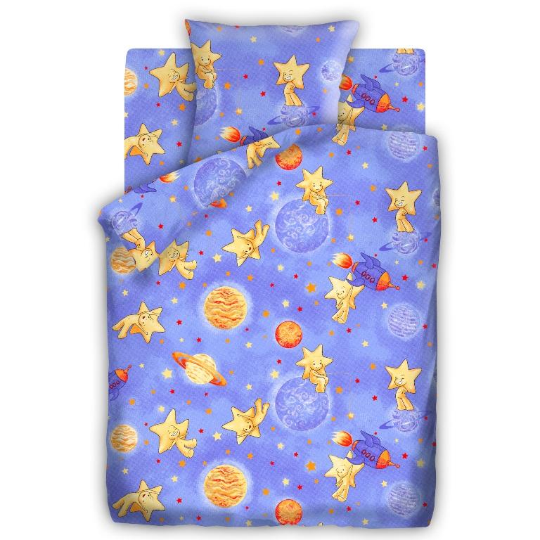 Комплект детского постельного белья Кошки-мышки Космостар, цвет: синий (8658-1)277997