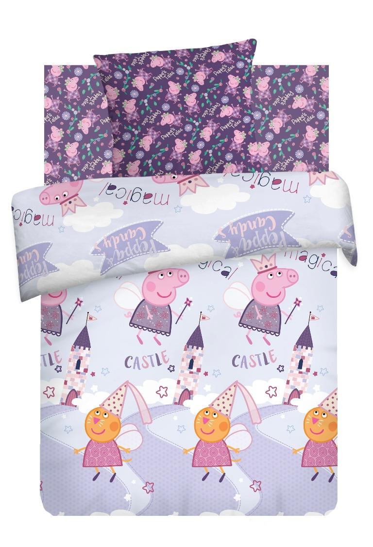 Комплект детского постельного белья Свинка Пеппа Пеппа Фея, 1,5-спальный, наволочка 70х70, цвет: сиреневый свинка пеппа комплект белья для новорожденных пеппа балерина