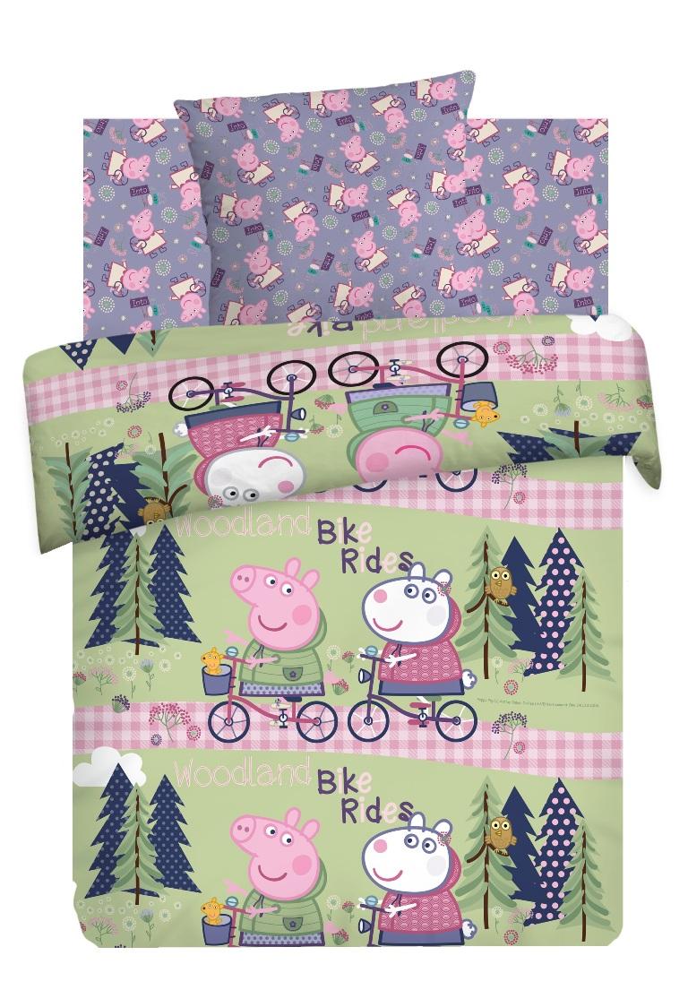 Комплект детского постельного белья Свинка Пеппа Велопрогулка, цвет: сиреневый (8779/8780 вид 1)354187