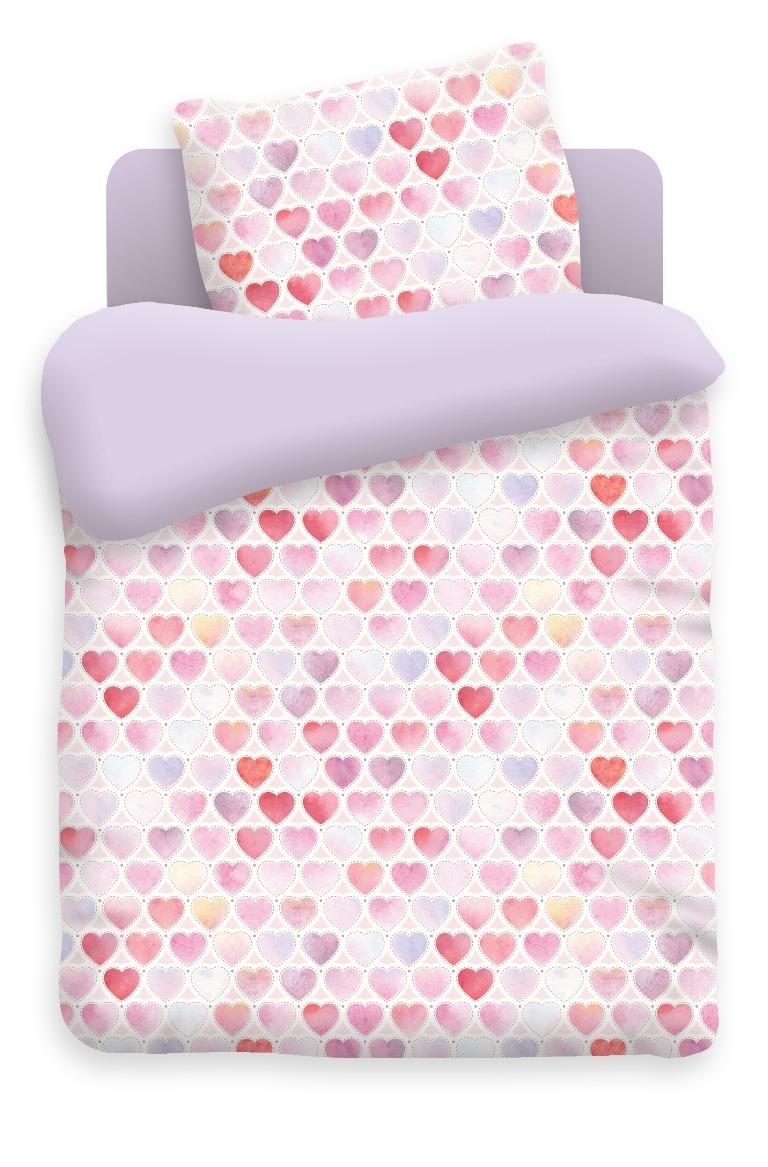 Непоседа Комплект белья для новорожденных Сердечки цвет фиолетовый 8808386602Постельное белье Непоседа, сшито из качественной бязи импортного производства. Белье не деформируется, цвет не выстирывается.В комплекте: наволочка 40х60, пододеяльник 112х147, простынь 110х150