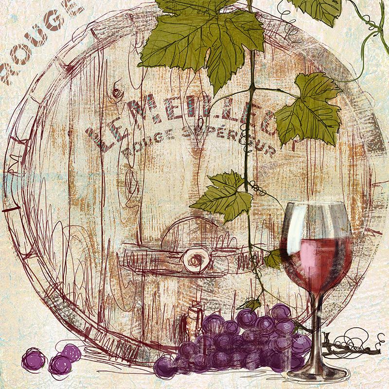 Картина Postermarket Бочка с вином, 30 х 30 см