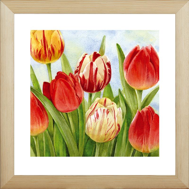 """Картина Postermarket """"Весенние тюльпаны"""" прекрасно подойдет для декора интерьера различных помещений.  Постер, выполненный в технике фотопечать, обрамлен паспарту и оформлен багетом бежевого цвета.  Картина для интерьера (постер) - это современное и актуальное направление в дизайне помещений. Ее можно использовать для оформления любых помещений (дом, квартира, офис, бар, кафе, ресторан или гостиница).  работоспособность.  Правильное оформление интерьера создает благоприятный психологический климат, улучшает настроение и мотивирует.   Размер картины: 400 x 400 мм."""