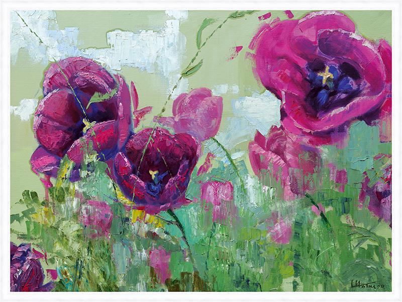 Картина Postermarket Тюльпаны, 60 х 80 см постер в раме синие тюльпаны 30х30 см
