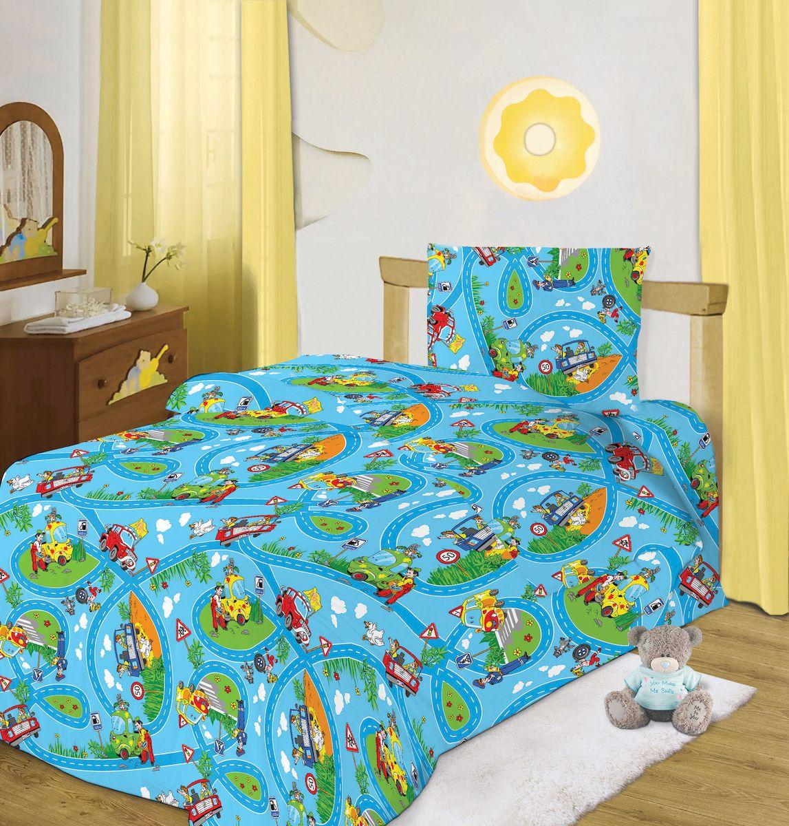 все цены на Комплект детского постельного белья Кошки-мышки Светофор, цвет: синий (8135)
