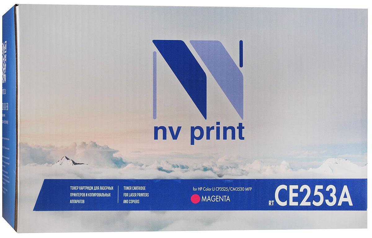 NV Print CE253A, Magenta тонер-картридж для HP Color LaserJet CP3525/CM3530 MFPCE253AMСовместимый лазерный картридж NV Print CE253A для печатающих устройств HP - это альтернатива приобретению оригинальных расходных материалов. При этом качество печати остается высоким.Лазерные принтеры, копировальные аппараты и МФУ являются более выгодными в печати, чем струйные устройства, так как лазерных картриджей хватает на значительно большее количество отпечатков, чем обычных. Для печати в данном случае используются не чернила, а тонер.