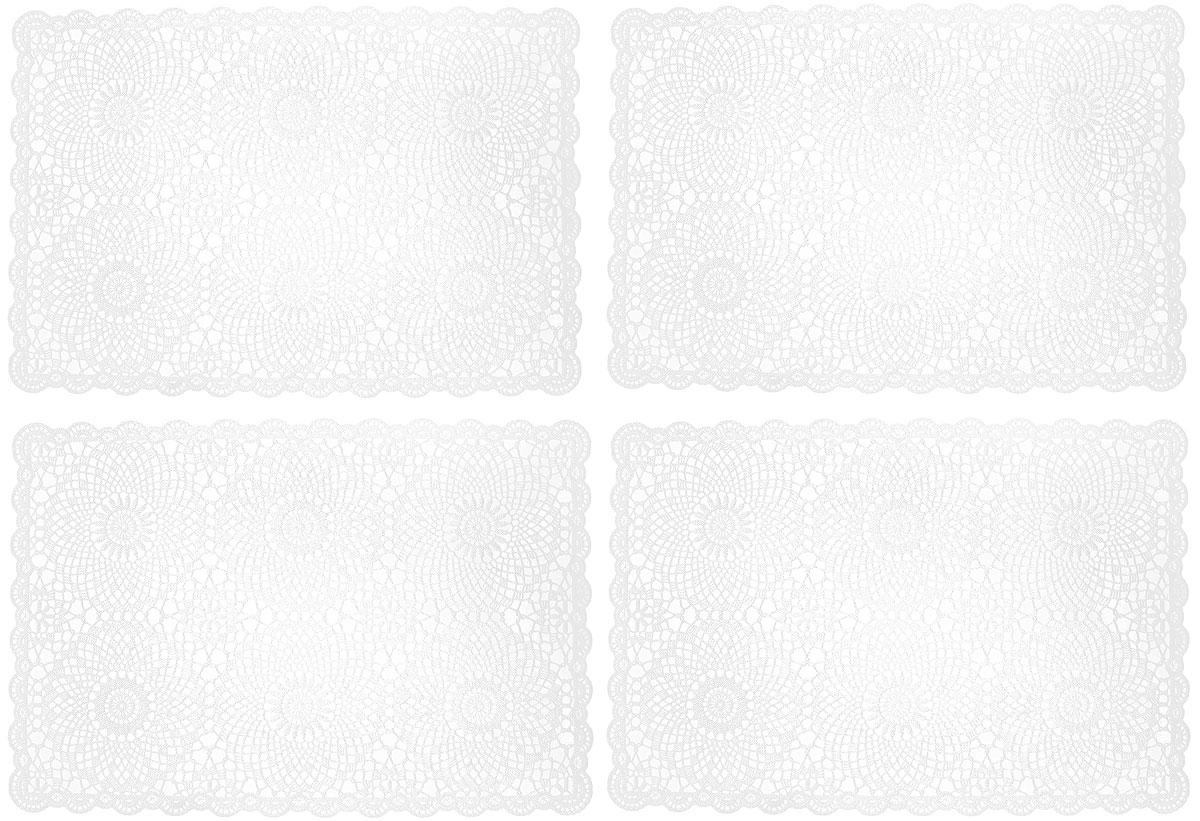 Набор сервировочных салфеток GiftnHome, цвет: белый, 45,5 х 30,5 см, 4 штFY013Набор GiftnHome, изготовленный из винила, состоит из четырех ажурных салфеток. Такие салфетки - это отличная идея для сервировки! Изделия имеют оригинальный дизайн. Салфетки защищают поверхность стола от воздействия температур, влаги и загрязнений, а также украшают интерьер. Размер салфетки: 45,5 см х 30,5 см.
