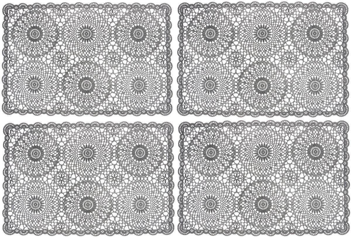 Набор сервировочных салфеток GiftnHome, цвет: темно-серый, 45,5 х 30,5 см, 4 штFY014Набор GiftnHome, изготовленный из винила, состоит из четырех ажурных салфеток. Такие салфетки - это отличная идея длясервировки! Изделия имеют оригинальный дизайн. Салфетки защищают поверхностьстола от воздействия температур, влаги и загрязнений, а также украшаютинтерьер.Размер салфетки: 45,5 см х 30,5 см.