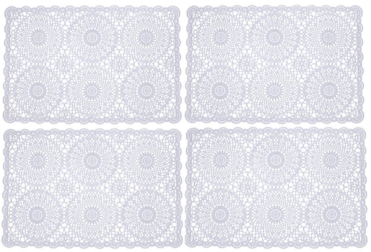 Набор сервировочных салфеток GiftnHome, цвет: светло-серый, 45,5 х 30,5 см, 4 штFY016Набор GiftnHome, изготовленный из винила, состоит из четырех ажурных салфеток. Такие салфетки - это отличная идея для сервировки! Изделия имеют оригинальный дизайн. Салфетки защищают поверхность стола от воздействия температур, влаги и загрязнений, а также украшают интерьер. Размер салфетки: 45,5 х 30,5 см.