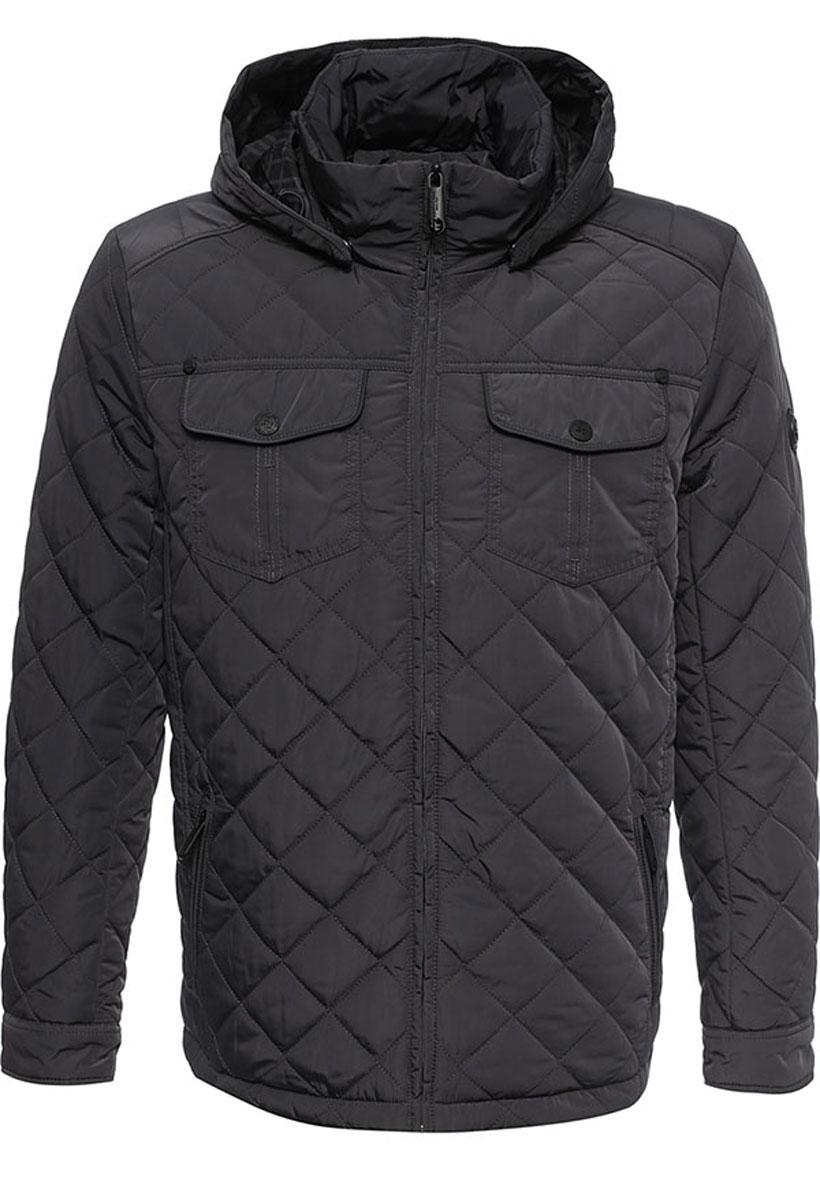 Куртка мужская Finn Flare, цвет: темно-серый. W16-21005_202. Размер XXL (54)W16-21005_202Стильная мужская куртка Finn Flare превосходно подойдет для прохладных дней. Куртка выполнена из высококачественного материала с подкладкой и наполнителем из полиэстера. Модель классического прямого кроя с длинными рукавами и воротником-стойкой застегивается на молнию. Капюшон пристегивается на кнопки, имеет на макушке хлястик на липучке и дополнен утягивающей резинкой на стопперах. Спереди изделие дополнено двумя втачными карманами на молнии и двумя накладными карманами с клапанами на кнопках. На внутренней стороне куртка оформлена одним прорезным карманом на молнии и двумя втачными карманами на липучке и пуговице.Куртка оформлена стегаными узором.