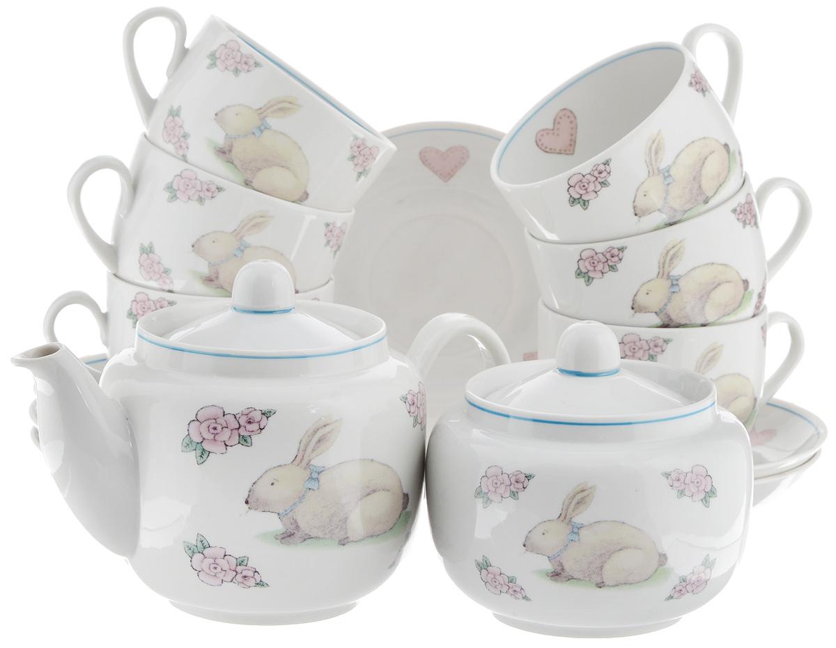 Сервиз чайный Фарфор Вербилок Август. Розовые мечты, 14 предметов4574330Чайный сервиз Фарфор Вербилок Август. Розовые мечты состоит из 6 чашек, 6 блюдец, сахарницы и заварочного чайника. Изделия выполнены из высококачественного фарфора и оформлены красивым рисунком. Изящный чайный сервиз прекрасно оформит стол к чаепитию и порадует вас элегантным дизайном и качеством исполнения.Объем чайника: 600 мл.Высота чайника (без учета крышки): 10,5 см.Диаметр чайника (по верхнему краю): 6,5 см.Высота сахарницы (без учета крышки): 8,5 см.Диаметр сахарницы (по верхнему краю): 6,5 см.Объем сахарницы: 500 мл.Объем чашки: 300 мл.Диаметр чашки (по верхнему краю): 8,5 см.Высота чашки: 6 см.Диаметр блюдца: 14 см.Высота блюдца: 2,3 см.