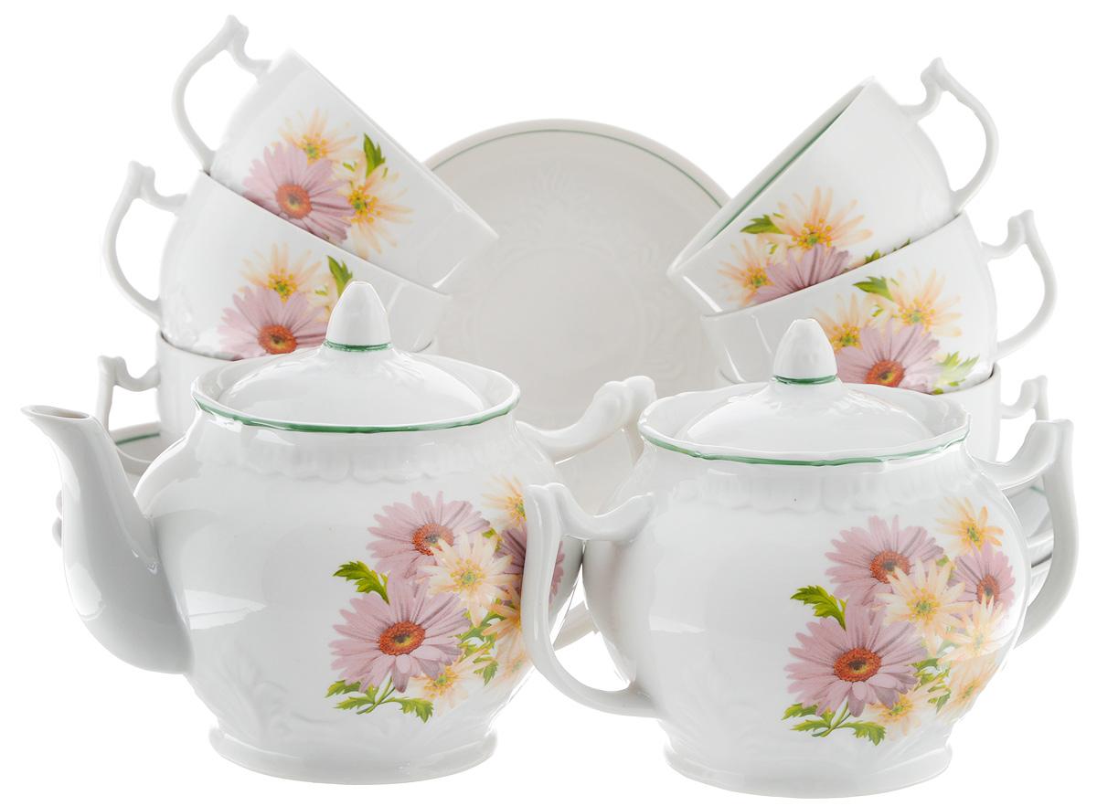 Сервиз чайный Фарфор Вербилок Розовые герберы, 14 предметов4671660Чайный сервиз Фарфор Вербилок Розовые герберы состоит из 6 чашек, 6 блюдец, сахарницы и заварочного чайника. Изделия выполнены из высококачественного фарфора и оформлены цветочным рисунком. Изящный чайный сервиз прекрасно оформит стол к чаепитию и порадует вас элегантным дизайном и качеством исполнения.Объем чайника: 600 мл.Высота чайника (без учета крышки): 10,5 см.Диаметр чайника (по верхнему краю): 6,5 см.Высота сахарницы (без учета крышки): 8,5 см.Диаметр сахарницы (по верхнему краю): 6,5 см.Объем сахарницы: 500 мл.Объем чашки: 300 мл.Диаметр чашки (по верхнему краю): 8 см.Высота чашки: 5,5 см.Диаметр блюдца: 14 см.Высота блюдца: 2,3 см.