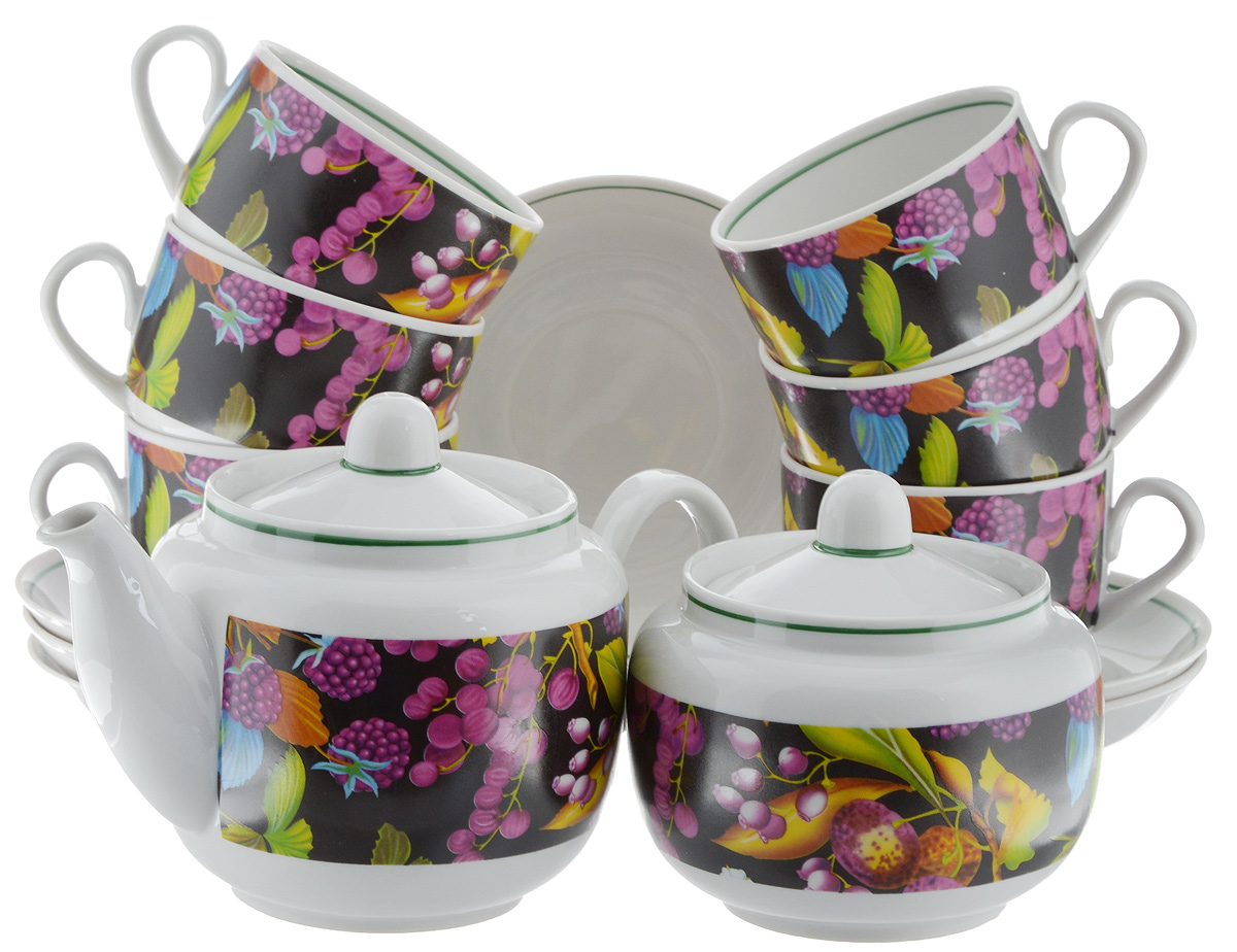 Сервиз чайный Фарфор Вербилок Август. Черная ягода, 14 предметов4570200Чайный сервиз Фарфор Вербилок Август. Черная ягода состоит из 6 чашек, 6 блюдец, сахарницы и заварочного чайника. Изделия выполнены из высококачественного фарфора и оформлены красивым рисунком. Изящный чайный сервиз прекрасно оформит стол к чаепитию и порадует вас элегантным дизайном и качеством исполнения.Объем чайника: 600 мл.Высота чайника (без учета крышки): 10,5 см.Диаметр чайника (по верхнему краю): 6,5 см.Высота сахарницы (без учета крышки): 8 см.Диаметр сахарницы (по верхнему краю): 6,5 см.Объем сахарницы: 500 мл.Объем чашки: 300 мл.Диаметр чашки (по верхнему краю): 8,5 см.Высота чашки: 6 см.Диаметр блюдца: 14 см.Высота блюдца: 2,3 см.