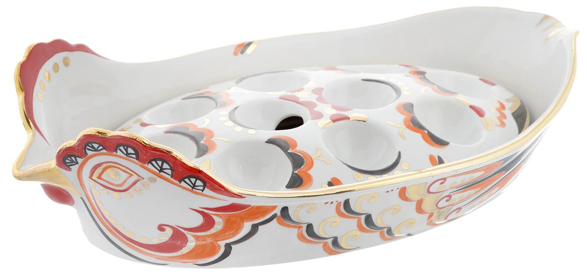 """Блюдо для заливного Фарфор Вербилок """"Курочка Ряба"""" станет прекрасным украшением праздничного стола. Изящный дизайн и красочность оформления  придутся по вкусу и ценителям классики, и тем, кто предпочитает современный стиль. Изделия выполнены из высококачественного фарфора и представляют собой блюдо для заливного и подставку для 10 яиц, которые можно использовать как вместе, так и отдельно.  Такие изделия красиво оформят праздничный стол и создадут особое настроение.  Диаметр выемки для яйца: 4 см.  Размер подставки: 26 х 14 см.  Размер блюда: 34 х 18 см. Высота стенки блюда: 4,5 см."""