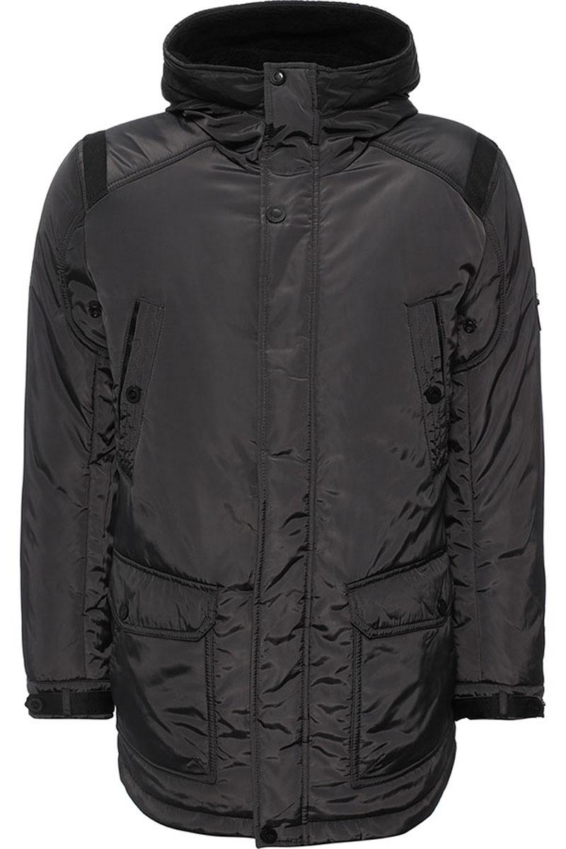 Куртка мужская Finn Flare, цвет: темно-серый. W16-22011_202. Размер XL (52)W16-22011_202Стильная мужская куртка Finn Flare превосходно подойдет для холодной погоды. Куртка выполнена из высококачественного материала с подкладкой и наполнителем из полиэстера. Модель прямого кроя, немного удлинённая, с длинными рукавами и несъемным капюшоном застегивается на молнию и дополнительно имеет планку на кнопках. Капюшон утеплен, его края можно отогнуть и пристегнуть на кнопку. Спереди изделие дополнено двумя втачными карманами на кнопках и двумя накладными карманами с клапанами на кнопках. На внутренней стороне куртка оформлена одним прорезным карманом на молнии и двумя втачными карманами на пуговице и на липучке. В поясе и по низу модель регулируется в размере с помощью стопперов.