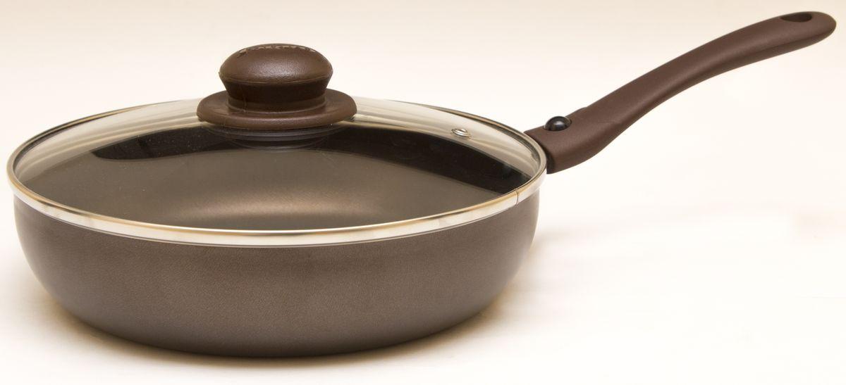 Сковорода Jarko Compliment с крышкой, со съемной ручкой, с антипригарным покрытием, цвет: коричневый. Диаметр 28 смJBrS-128-21Сковорода Jarko Compliment изготовлена из высококачественного алюминия с внутренним пятислойным антипригарным покрытием. Покрытие не оставляет послевкусия, делает возможным приготовление блюд без масла, сохраняет витамины и питательные вещества. Оно обладает повышенной стойкостью к царапинам и внешним воздействиям. Внешнее декоративное покрытие выдерживает высокую температуру. Эргономичная бакелитовая ручка не нагревается в процессе приготовления пищи. Крышка из термостойкого стекла снабжена металлическим ободом, удобнойбакелитовой ручкой и отверстием для выпуска пара. Такая крышка позволит следить запроцессом приготовления пищи без потери тепла. Она плотно прилегает к краям сковороды, сохраняя аромат блюд. Сковорода пригодна для использования на всех типах плит, кроме индукционных. Подходит для чистки в посудомоечной машине.