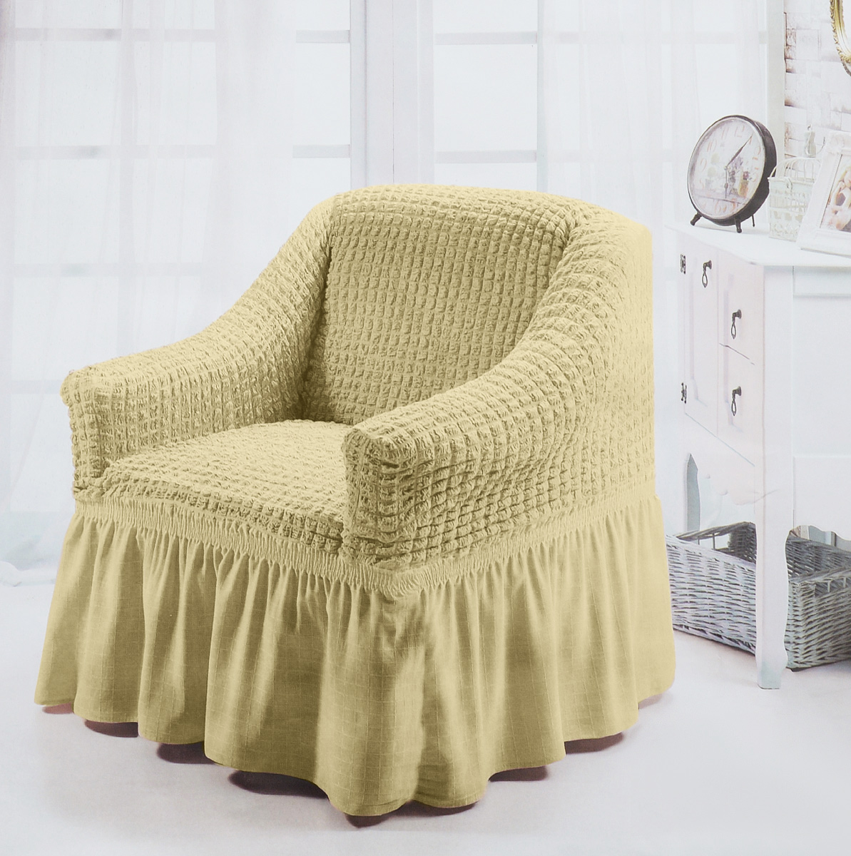 Чехол для кресла Burumcuk Bulsan, цвет: бежевый1797/CHAR001Чехол на кресло Burumcuk Bulsan выполнен из высококачественного полиэстера и хлопка с красивым рельефом. Предназначен для кресла стандартного размера со спинкой высотой в 140 см. Такой чехол изысканно дополнит интерьер вашего дома. Изделие прорезинено со всех сторон и оснащено закрывающей оборкой.Ширина и глубина посадочного места: 70-80 см.Высота спинки от сиденья: 70-80 см.Высота подлокотников: 35-45 см.Ширина подлокотников: 25-35 см.Длина оборки: 35 см.