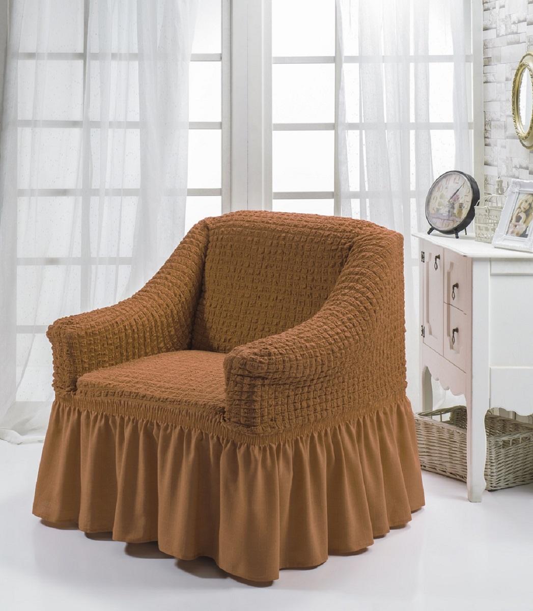 Чехол для кресла Karna Bulsan, цвет: кирпичный1797/CHAR006Универсальный чехол для кресла Karna Bulsan изготовлен из высококачественного материала на основе полиэстера и хлопка и дополнен широкой юбкой, скрывающей низ мебели. Изделие оснащено фиксаторами, которые позволяют надежно закрепить чехол на мебели. Фиксаторы вставляются в расстояние между спинкой и сиденьем, фиксируя чехол в одном положении, и не позволяя ему съезжать и терять форму. Фиксаторы особенно необходимы в том случае, если у вас кожаная мебель или мебель нестандартных габаритов. Характеристики:Плотность: 360 гр/м2. Ширина и глубина посадочного места: 70-80 см.Высота спинки от посадочного места: 70-80 см.Высота подлокотников: 35-45 см.Ширина подлокотников: 25-35 см.Высота юбки: 35 см.