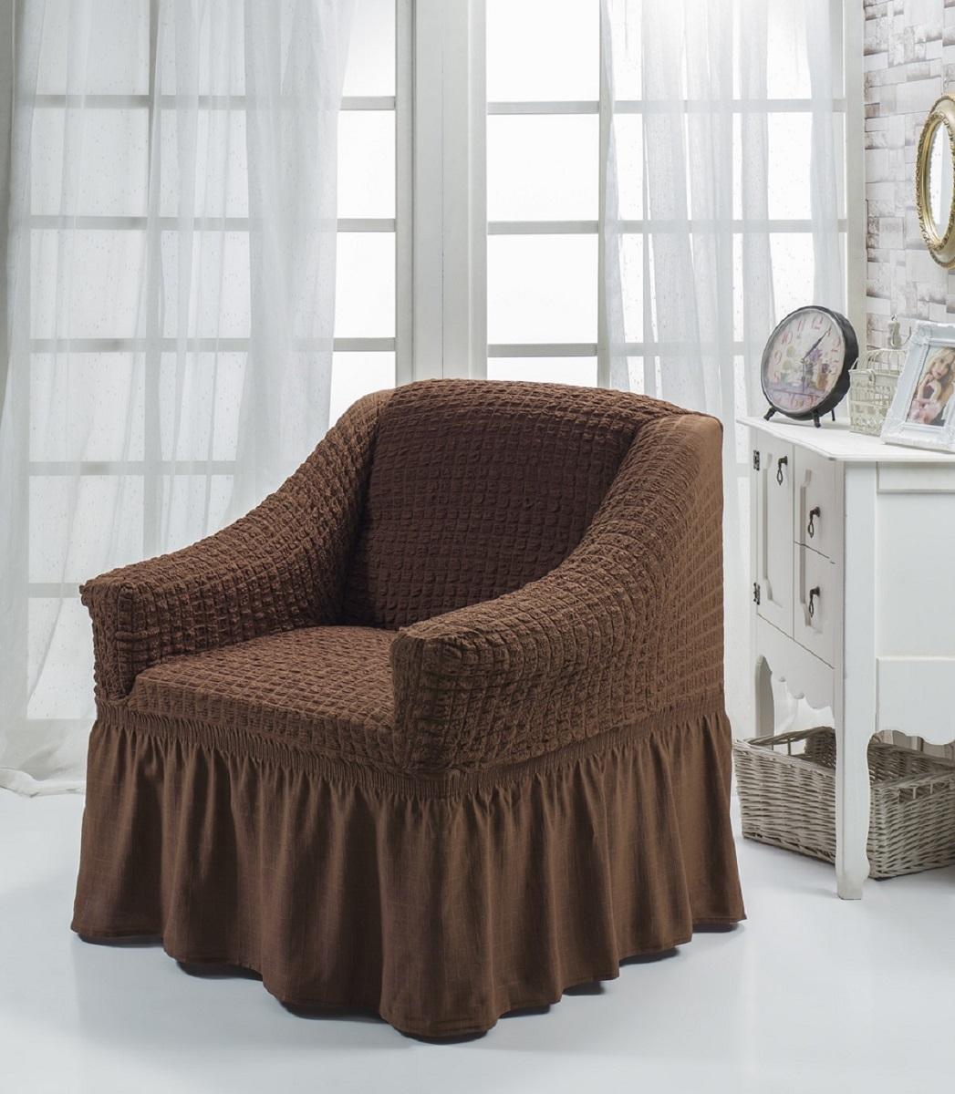 Чехол для кресла Karna Bulsan, цвет: темно-коричневый1797/CHAR007Универсальный чехол для кресла Karna Bulsan изготовлен из высококачественного материала на основе полиэстера и хлопка и дополнен широкой юбкой, скрывающей низ мебели. Изделие оснащено фиксаторами, которые позволяют надежно закрепить чехол на мебели. Фиксаторы вставляются в расстояние между спинкой и сиденьем, фиксируя чехол в одном положении, и не позволяя ему съезжать и терять форму. Фиксаторы особенно необходимы в том случае, если у вас кожаная мебель или мебель нестандартных габаритов. Характеристики:Плотность: 360 гр/м2. Ширина и глубина посадочного места: 70-80 см.Высота спинки от посадочного места: 70-80 см.Высота подлокотников: 35-45 см.Ширина подлокотников: 25-35 см.Высота юбки: 35 см.