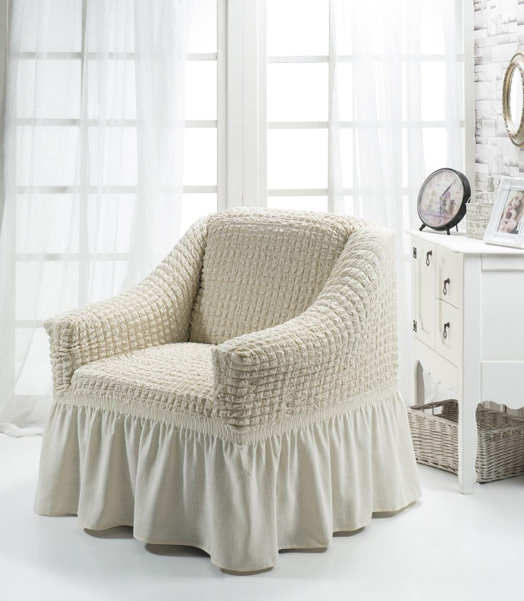 Чехол для кресла Karna Bulsan, цвет: кремовый1797/CHAR009Универсальный чехол для кресла Karna Bulsan изготовлен из высококачественного материала на основе полиэстера и хлопка и дополнен широкой юбкой, скрывающей низ мебели. Изделие оснащено фиксаторами, которые позволяют надежно закрепить чехол на мебели. Фиксаторы вставляются в расстояние между спинкой и сиденьем, фиксируя чехол в одном положении, и не позволяя ему съезжать и терять форму. Фиксаторы особенно необходимы в том случае, если у вас кожаная мебель или мебель нестандартных габаритов. Характеристики:Плотность: 360 гр/м2. Ширина и глубина посадочного места: 70-80 см.Высота спинки от посадочного места: 70-80 см.Высота подлокотников: 35-45 см.Ширина подлокотников: 25-35 см.Высота юбки: 35 см.