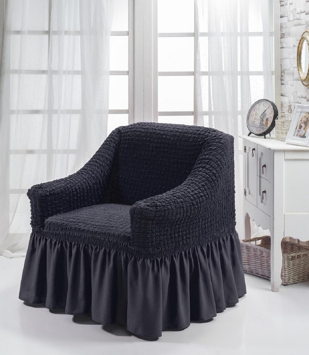 """Чехол на стул """"Burumcuk"""" выполнен из высококачественного полиэстера и хлопка с  красивым рельефом. Закрепляется на стул при помощи резинки и веревок.  Предназначен для классического стула со спинкой. Такой чехол изысканно  дополнит интерьер вашего дома.  Ширина и глубина посадочного места: 70-80 см. Высота спинки от посадочного места: 70-80 см. Высота подлокотников: 35-45 см. Ширина подлокотников: 25-35 см. Высота юбки: 35 см."""