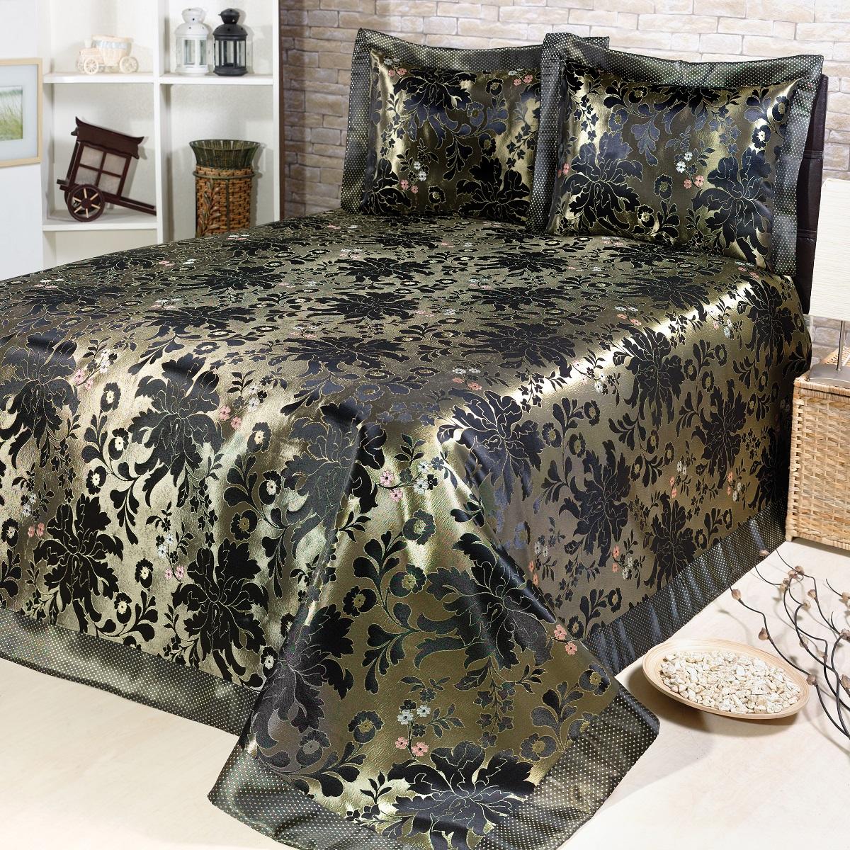 Комплект для спальни Karna Nazsu. Cinar: покрывало 240 х 260 см, 2 наволочки 50 х 70 см, цвет: золотой, черный покрывало двуспальное karna evony 240 260 см бежевый