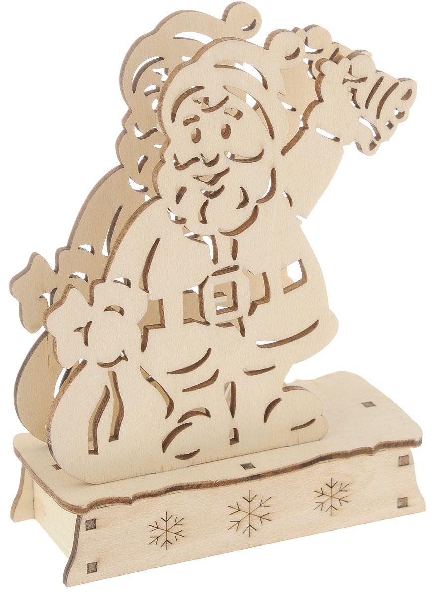 Заготовка деревянная House & Holder Дед Мороз, с подсветкой, 11 х 14,5 см фигурка декоративная house & holder дед мороз с подсветкой высота 9 см