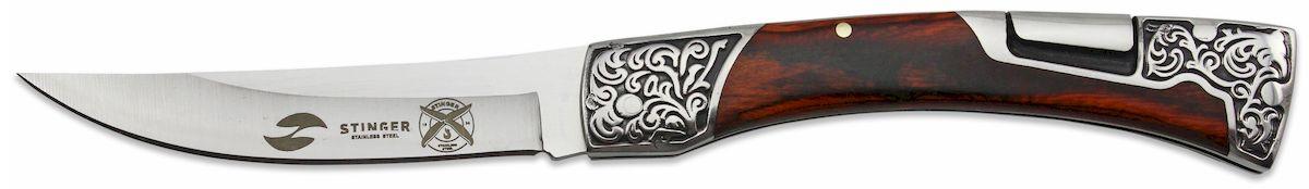 Нож складной Stinger, цвет: коричневый, 114 мм. B3165B3165Складной нож Stinger изготовлен из нержавеющей стали, прочных пород древесины и различных полимеров. Нож выполнен в современном стиле. Он будет отличным подарком для рыбака, охотника, спортсмена или человека, который ценит отдых на природе. Лезвие и рукоять из нержавеющей стали и дерева, с клипом. Размер ножа в открытом виде - 216 мм., толщина лезвия - 3 мм.