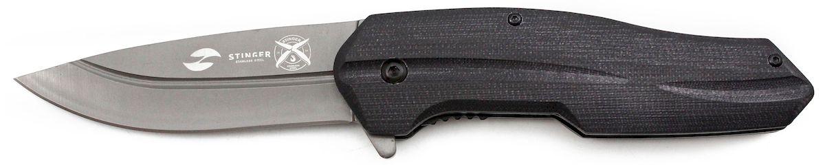 Нож складной Stinger, с клипом, цвет: черный, длина лезвия 9 см