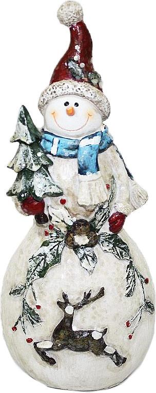 Фигурка декоративная Family & Friends Снеговик. 10011081001108Декоративная фигурка Family & Friends изготовлена из керамики. Она выполнена в виде снеговика. Такая фигурка будет потрясающе смотреться в интерьере комнаты и станет прекрасным сувениром.
