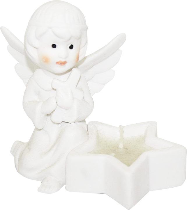 """Подсвечник Lillo """"Ангел"""", выполненный из керамики, украсит интерьер вашего дома или офиса. Оригинальный дизайн и красочное исполнение создадут праздничное настроение. Подсвечник выполнен в форме ангела, сидящего около небольшой чашечки в форме звезды. Внутри чашечки - парафиновая свеча.Вы можете поставить подсвечник в любом месте, где он будет удачно смотреться, и радовать глаз. Кроме того - это отличный вариант подарка для ваших близких и друзей в преддверии Нового года."""