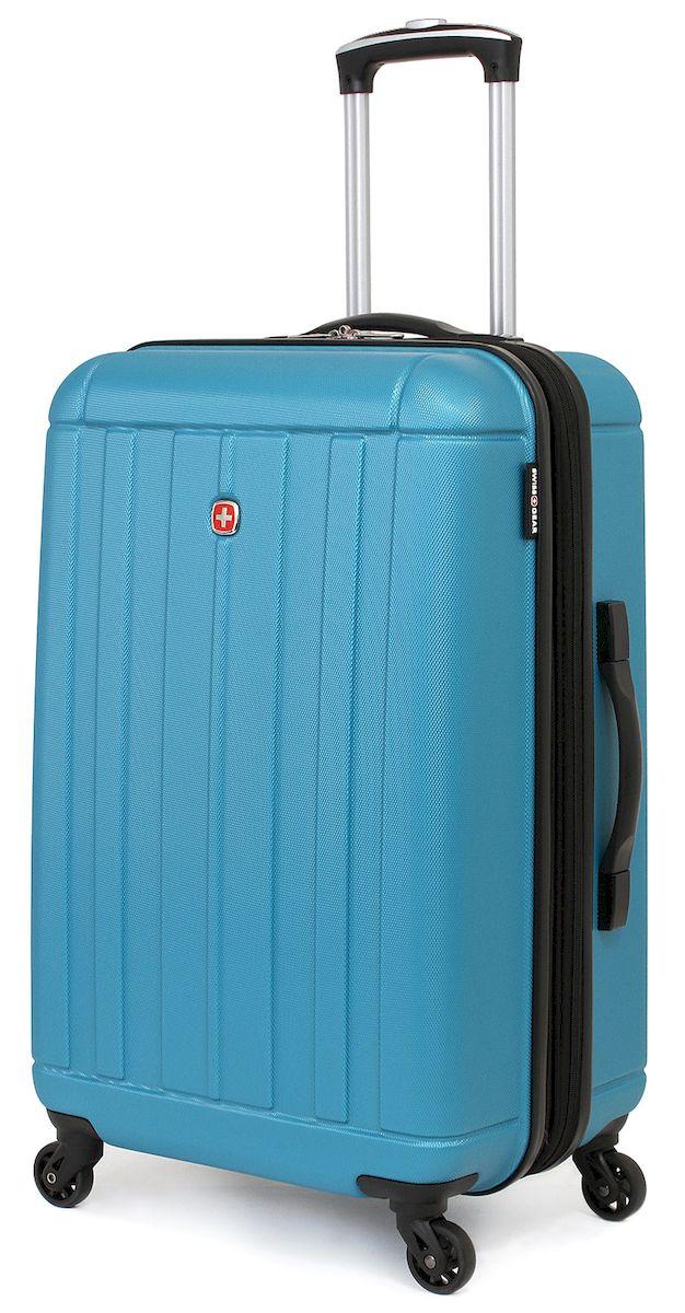 Чемодан SwissGear Uster, цвет: голубой, 62 л6297343167Дорожный чемодан SwissGear Uster - это прекрасный выбор для путешественников! Чемодан выполнен из АБС-пластика, преимущества которого заключаются в высокой прочности при минимальном весе. Этот чемодан действительно легок и станет отличным компаньоном в дороге даже для хрупких, миниатюрных дам! Удобная телескопическая ручка, сделанная из авиационного алюминия, целых четыре маневренных колесика, вращающихся на 360 градусов и наличие сразу двух ручек (сверху и сбоку) делают этот чемодан поистине эргономичным. Внутренняя эргономика также свидетельствует о благородном швейцарском происхождении. В основном пространстве имеется отделение с закрывающейся на молнию сетчатой стенкой, а для небольших аксессуаров имеется съемный несессер. Надежно зафиксировать ваши вещи в чемодане помогут внутренние перекрестные ремни с удобным замком. Характеристики:Застежки молнии основного отделения чемодана предусматривают возможность использования навесного багажного замка, благодаря специальным петлямКолесики, способные вращаться вокруг своей оси для маневренностиМаксимально облегченный и эргономичныйТелескопическая ручка из авиационного алюминияДополнительные ручки: верхняя и боковая ручкиВнутренние перекрестные ремни для надежной фиксации содержимогоОтделение для небольших аксессуаров на молнии внутриОдна из секций чемодана при необходимости закрывается на молнию, тем самым разделяя основное пространство на две части.