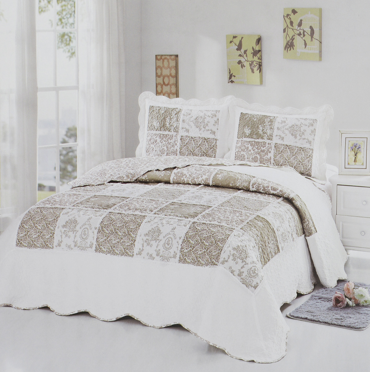 Комплект для спальни Karna Modalin. Пэчворк: покрывало 230 х 250 см, 2 наволочки 50 х 70 см, цвет: белый, светло-коричневыйS03301004Изысканный комплект Karna Modalin. Пэчворк прекрасно оформит интерьерспальни или гостиной. Комплект состоит из двухстороннего покрывала и двух наволочек.Изделия изготовлены из микрофибры.Постельные комплекты Karna уникальны, так как онипрактичны и универсальны в использовании.Материал хорошо сохраняет окраску и форму.Изделиядолговечны, надежны и легко стираются.Комплект Karna не только подарит тепло,но и гармонично впишется в интерьер вашего дома.Размер покрывала: 230 х 250 см. Размер наволочки: 50 х 70 см.