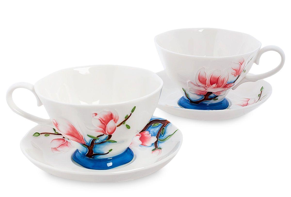 Набор чайный Pavone Цветущая сакура, 4 предмета. 451573451573Объем чашки: 200 млДиаметр блюдца: 14 см.