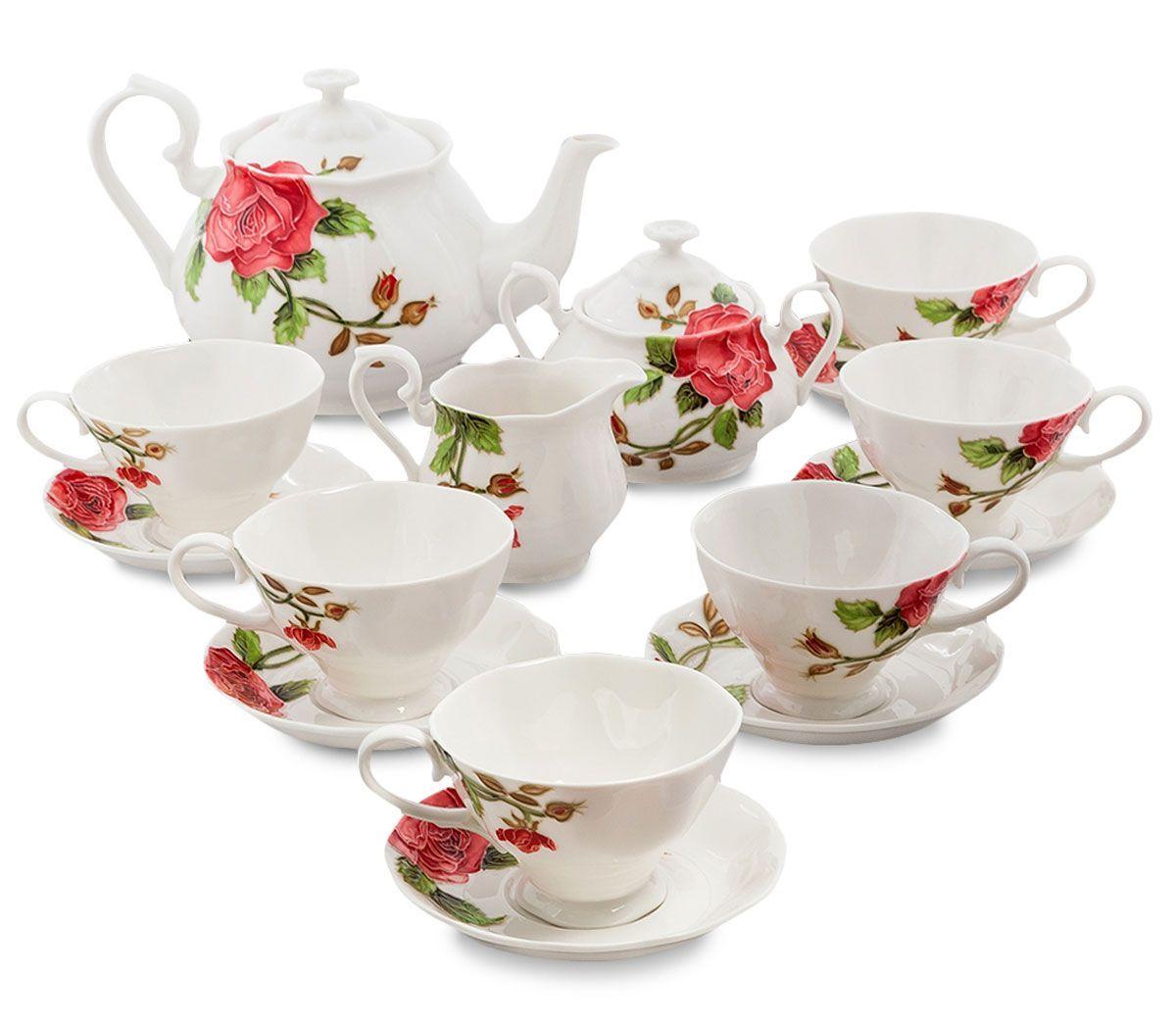 Сервиз чайный Pavone Рафаэлло. Роза, 15 предметов. 451578451578Объем чайника: 1,25 лОбъем сахарницы: 400 мл Объем молочника: 250 мл Объем чашки: 200 млДиаметр блюдца: 14 см.