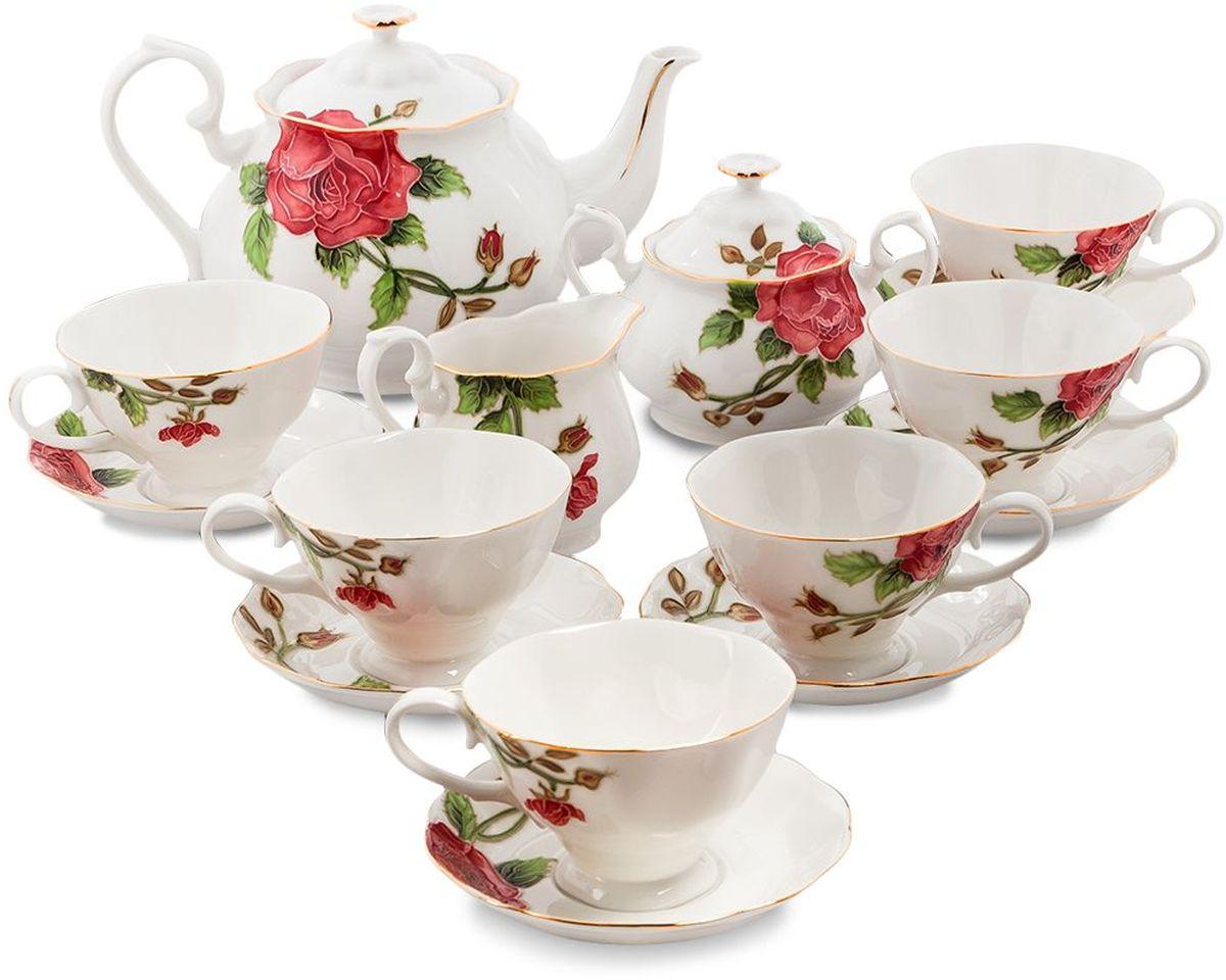 Сервиз чайный Pavone Золотая Роза, 15 предметов. 451584451584Объем чайника: 1,25 лОбъем сахарницы: 400 мл Объем молочника: 250 мл Объем чашки: 200 млДиаметр блюдца: 14 см.