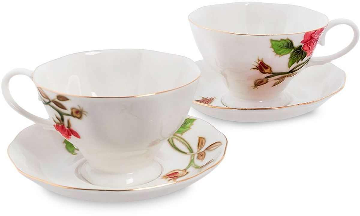 Набор чайный Pavone Золотая Роза, 4 предмета. 451585451585Объем чашки: 200 млДиаметр блюдца: 14 см.