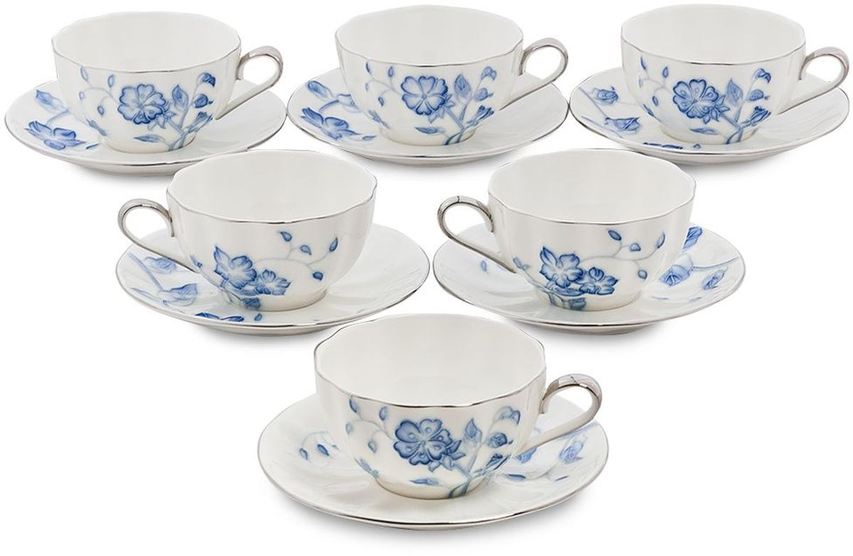 Набор чайный Pavone Голубая бабочка, 6 предметов. 451603451603Объем чашки: 200 млДиаметр блюдца: 14 см.